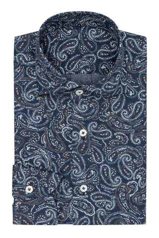 Albini Dark Blue Cotton Flannel with Paisley