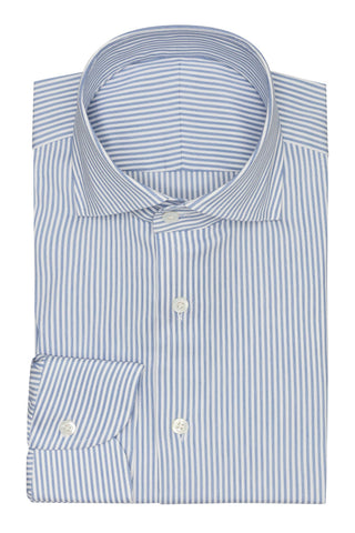 white stretch cotton blend with mid blue stripes