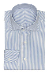 white stretch cotton blend with mid blue stripes Inspiration