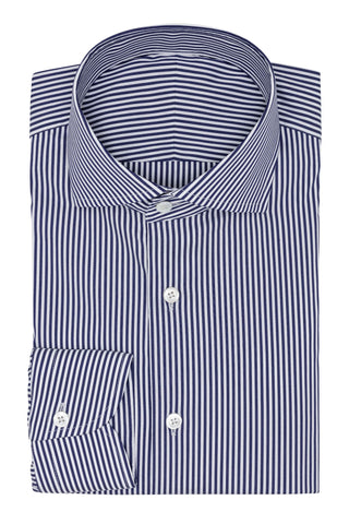 light blue stretch cotton blend with dark blue stripes