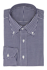 white stretch cotton blend with dark blue check Inspiration