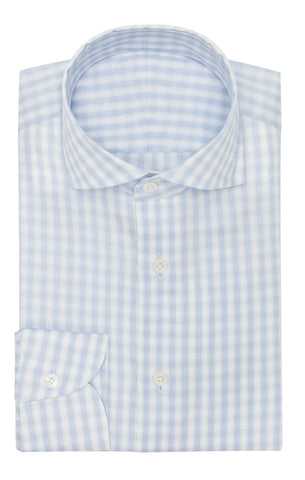 Weba sky blue cotton with white stripes and subtle check