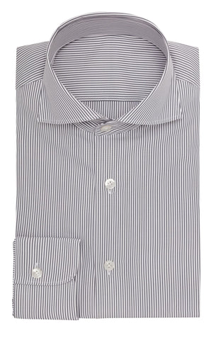 Thomas Mason poplin stripe grey two ply cotton