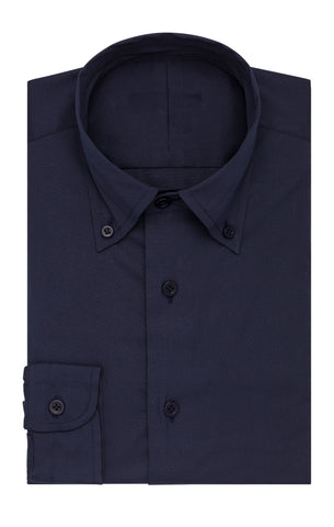 Thomas Mason soft satin poplin stretch dark blue