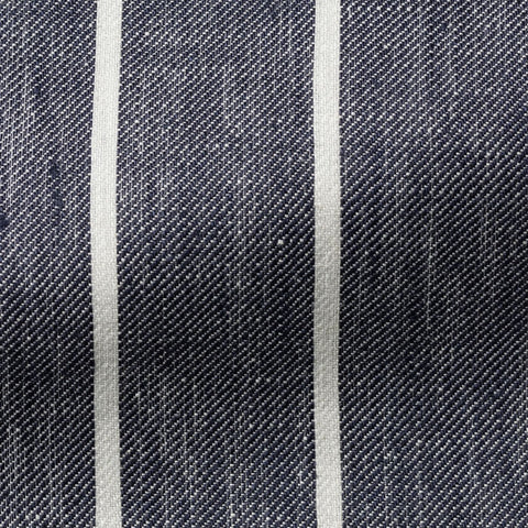 Solbiati Dark Blue White Striped Linen