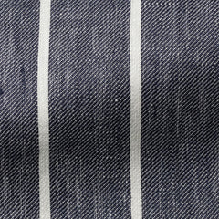 Solbiati-dark-blue-white-striped-linen Fabric