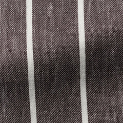 Solbiati-mid-brown-white-striped-linen Fabric
