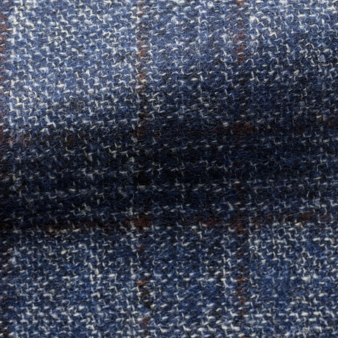 Ferla Bright Blue Brushed Sharkskin Alpaca Wool with Brown Windowpane