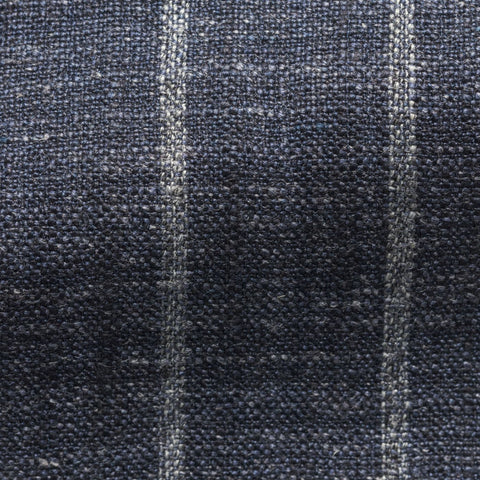 Ferla Indigo Blue Silk Linen Blend with Bold Chalk Stripe