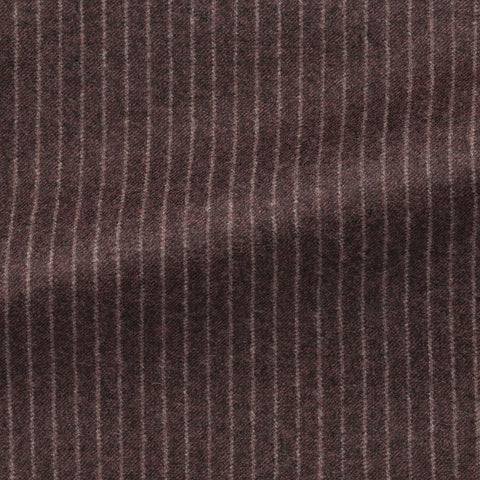 Marzotto Raisin Brushed S110 Merino Wool with White Pinstripe