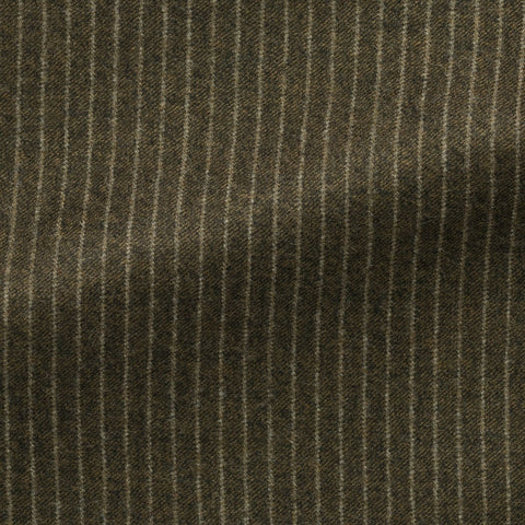 Marzotto Sage Green Brushed S110 Merino Wool with White Pinstripe