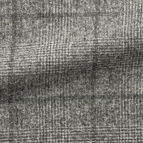 Ferla grey white brushed alpaca cotton blend with glencheck