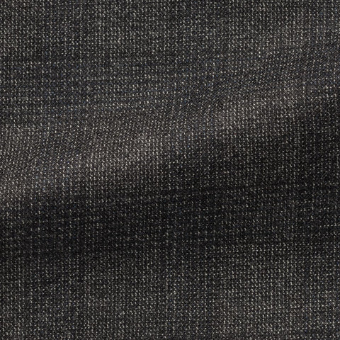 Drago Dark Grey Brushed S130 Merino Wool with White Stippling and Check