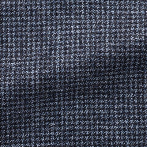 Loro Piana midnight mid blue wool silk cashmere faux uni houndstooth