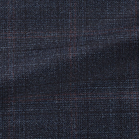 Loro Piana midnight blue wool silk cashmere with subtle burgundy check