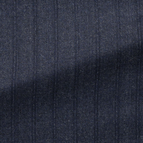 VBC navy brushed wool cashmere with fine white stippling and pinstripes