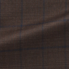 brown-s130-wool-with-blue-windowpane Fabric