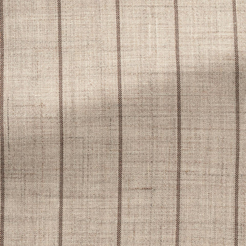Loro Piana beige wool, silk & linen with brown pinstripes