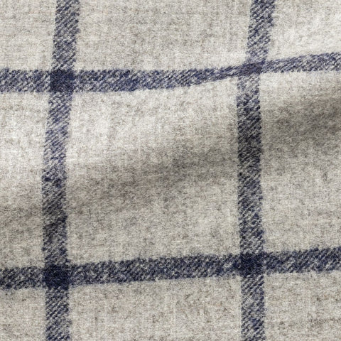 Ferla light grey alpaca and wool blend with dark blue windowpane