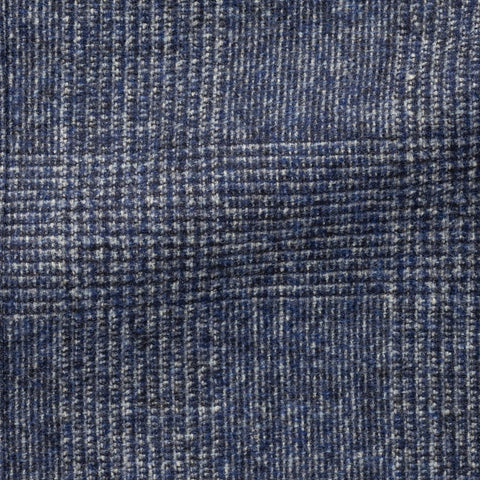 Ferla mid blue brushed wool and alpaca glencheck