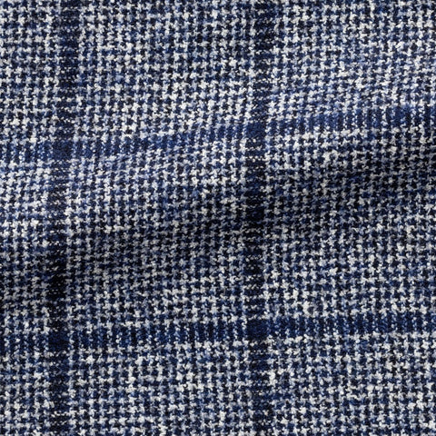 Ferla midnight blue white cotton and alpaca bouclé houndstooth with blue windowpane