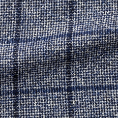 Ferla-midnight-blue-white-cotton-and-alpaca-bouclé-houndstooth-with-blue-windowpane Fabric