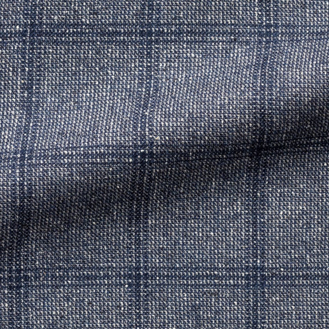 Loro Piana Silk Air Blue White Faux Uni Wool Silk with Blue Windowpane