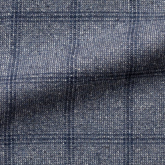 blue-white-faux-uni-wool-silk-with-blue-windowpane-A300gr Fabric