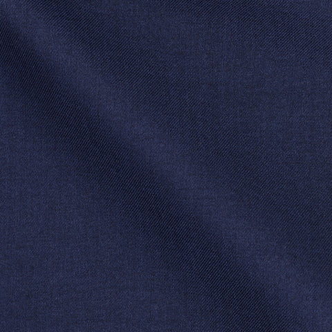 E. Thomas Dark Blue Twill Wool-Silk-Cotton