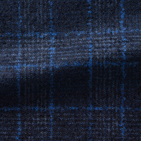 Loro Piana dark blue glencheck with bright blue windowpane and alpaca blouclé