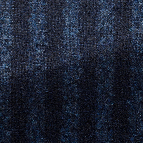 Loro Piana Dark Blue Mid Blue Stripes with Alpaca Bouclé
