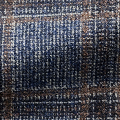 Ferla mid blue brown wool alpaca glencheck