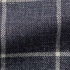 Angelico-navy-mouliné-with-white-windowpane Fabric
