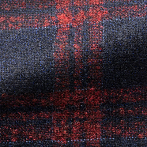 Loro Piana midnight blue alpaca wool bouclé with bright red windowpane