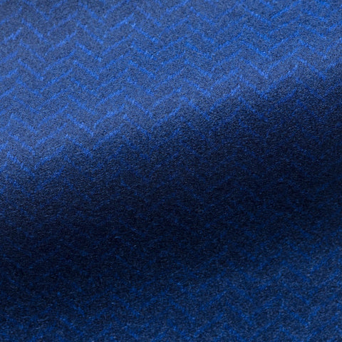 Loro Piana Bright Blue Double-Faced Felted Herringbone
