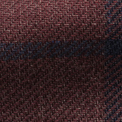 Ferla-burgundy-linen-alpaca-silk-with-blue-windowpane Fabric