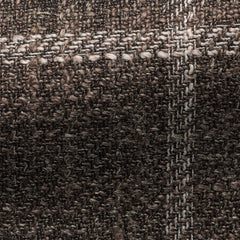 Ferla-brown-silk-linen-cotton-blend-with-white-windowpane Fabric