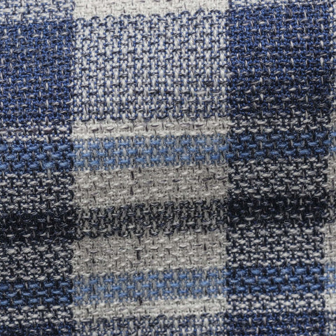 Angelico Mixed Blue and Ivory Cotton Wool Blend Bold Check