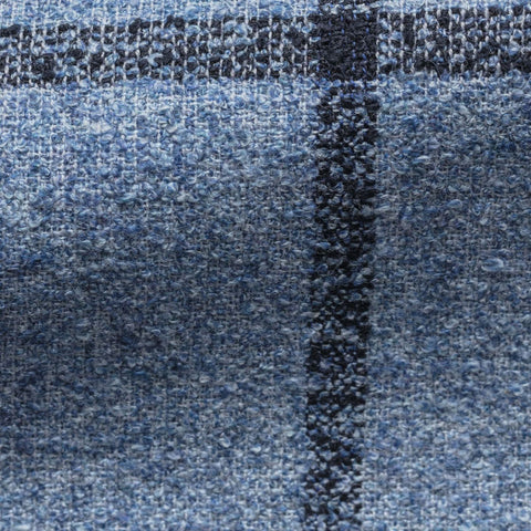 Solbiati blue cotton wool linen blend bouclé with blue windowpane