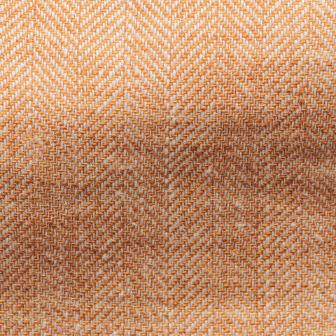 Solbiati Orange Rustic Linen Herringbone