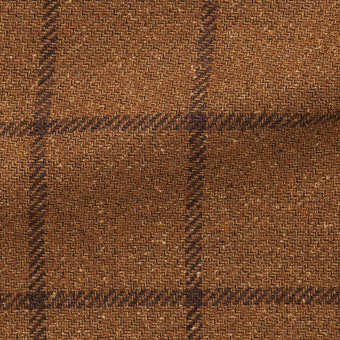 Ferla Golden Brown Mélange Wool Alpaca Silk with Dark Brown Windowpane