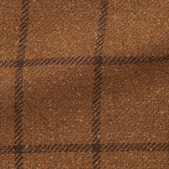 golden-brown-mélange-wool-alpaca-silk-with-dark-brown-windowpane Fabric