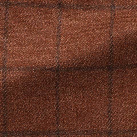 Loro Piana Dream Tweed Burnt Orange Wool Silk Mélange with Black Windowpane