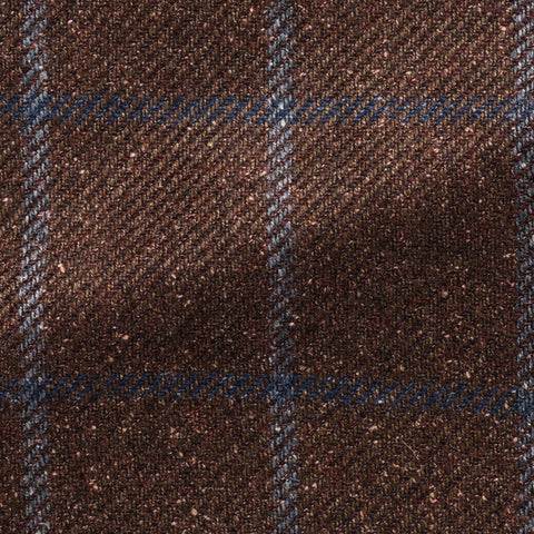 Ferla Brown Burgundy Mélange Wool Alpaca Silk Twill with Light Blue Windowpane