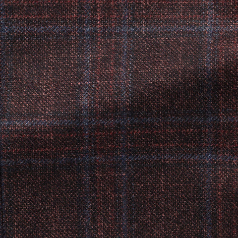 dark burgundy wool silk cashmere with subtle blue check