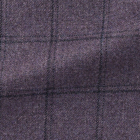 purple wool silk cashmere faux uni with dark purple check