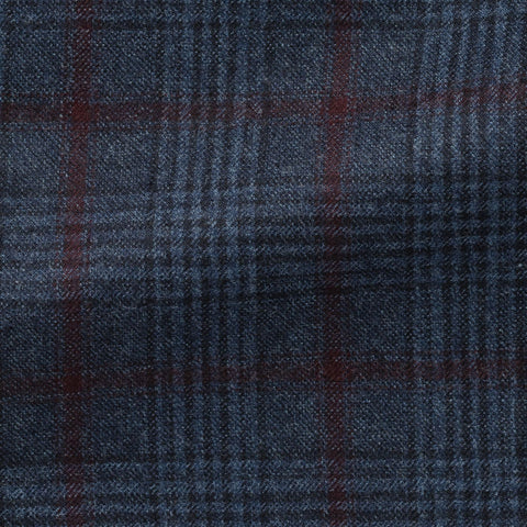 Loro Piana Denim Blue Wool with Black Glencheck and Burgundy Windowpane