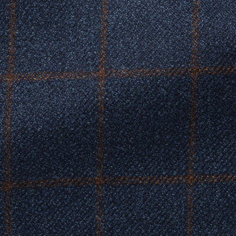 Loro Piana Dream Tweed Navy Wool Silk Mélange with Brown Windowpane