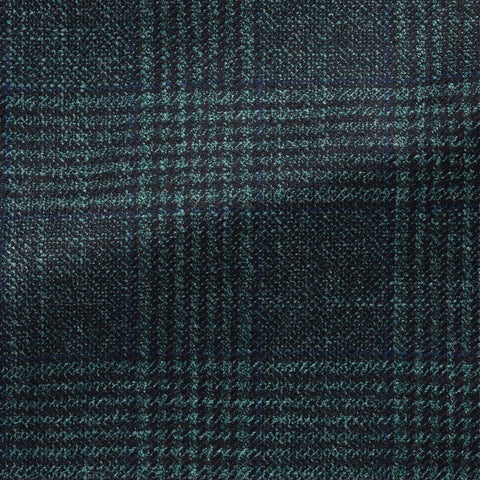 dark   sea green faux uni wool silk cashmere with subtle blue & black check