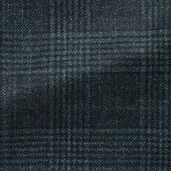 dark---sea-green-faux-uni-wool-silk-cashmere-with-subtle-blue-&-black-check Fabric